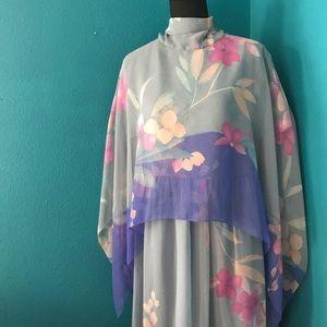 Vintage 70's Blue Chiffon Floral Cape Gown